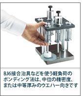 BJ6接合治具などを使う軽負荷のボンディング法は、中位の精密度、または中等厚みのウエハー向きです