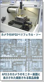 カメラ付APD2ペリフェラル・ソー/APD2のカメラのモニター画面に表示された裁断される製品画像